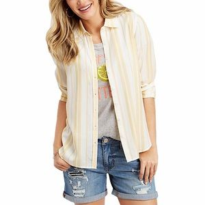 Maurices Yellow and white Striped Button Shirt M